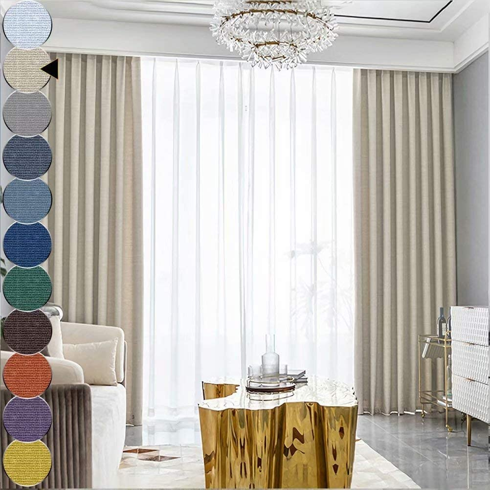 MacoHome Super beauty product restock quality top Beige Textured Linen Curtains Inch 72 Wide 102 Lon Max 70% OFF