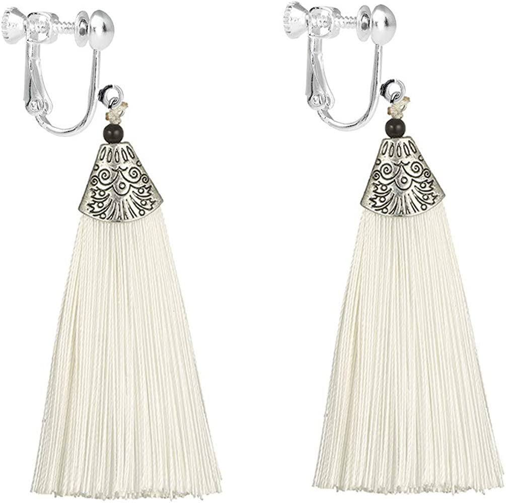 Bohemian Tassel Clip on Earring Free shipping anywhere in the nation Charm Thread Jewelry Long Now free shipping Fringe