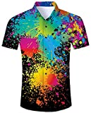 Goodstoworld Men 3D Shirts Casual Button Down Dark Colorful Black Paint Splash Short Sleeve Floral Aloha Shirt Tee Tops