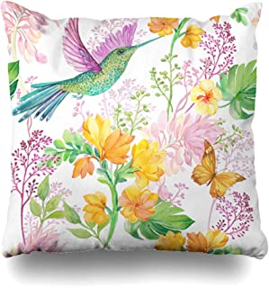 Ahawoso Throw Pillow Covers Summer Watercolor Blossom Floral Bird Hummingbird Butterfly Nature Pattern Blue Botanica Drawing Home Decor Pillowcase Square Size 18