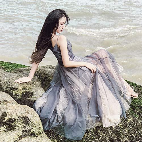 BINGQZ Damen Party Kleider, Maxikleid, Cocktailkleider Abendkleider,Netto Garn Kleid weiblich Sommer V-Ausschnitt Hosenträger Rock Meer Urlaub Strand Rock