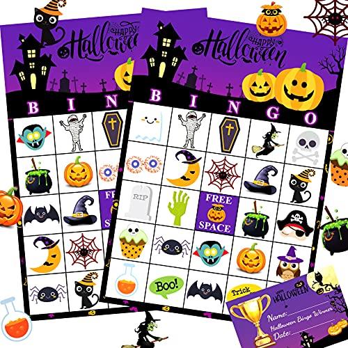 Funnlot Halloween Bingo Game Halloween Party Games for Kids Halloween Bingo Cards for 24 Players with Champion Card Halloween Party Activities for Family School Halloween Party Favors