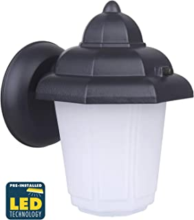CORAMDEO Outdoor LED Wall Sconce Light for Porch, Patio, Barn and More, Wet Location, Built in LED Gives 75W of Light from 9.5W of Power, Durable Cast Aluminum with Black Finish & Frosted Glass