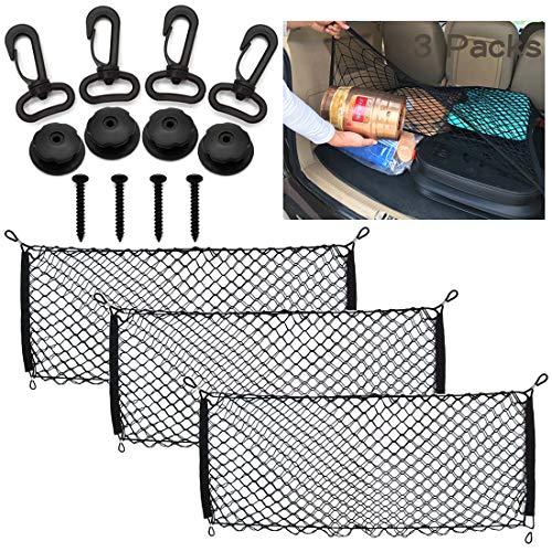 MOAMUN 3 STÜCKE Universa Kofferraumnetz Elastisch Kofferraum Aufbewahrung Netz, Lagerung Mesh Auto Gepäcknetz für Kofferraum SUV LKW Mesh Organizer