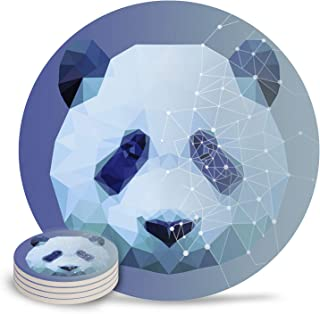 Ceramic Coasters for Drinks - Cute Diamond Panda Head Round 4 Piece Coaster Set with Absorbent Ceramic Stone and Cork Base - Absorbant For Table, Desk and Bar