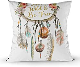 EMMTEEY Home Decor Throw Pillowcase for Sofa Cushion Cover, Boho Dreamcatcher Tribal Feather Nursery Decorative Square Accent Zippered and Double Sided Printing Pillow Case Covers 18X18Inch