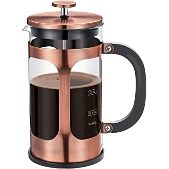 BAYKA French Press Coffee Tea Maker, 304 Stainless Steel Coffee Press with 4 Level Filtration System, Heat Resistant Thickened Borosilicate Glass, 34 Ounce, Copper