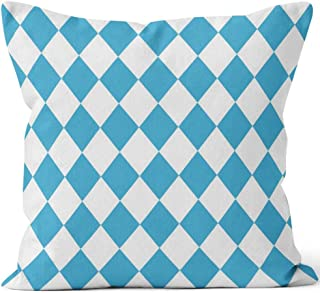 Vector Seamless Oktoberfest Pattern with White and Blue Rhombus Throw Pillow Cover,HD Printing for Sofa Couch Car Bedroom Living Room Decor,16