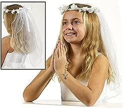 First Communion Flower Crown Veil, 19 Inch