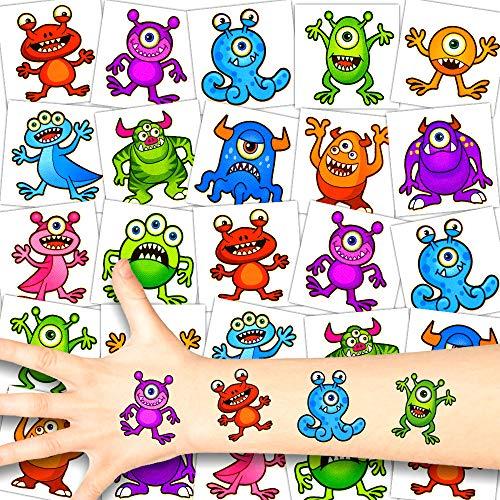German Trendseller® 12 x Monster Kinder Tattoos - Set Tattoo - Monster Party ┃ Kindergeburtstag ┃ Mitgebsel ┃ Süße Kleine Monster ┃ 12 Tattoos