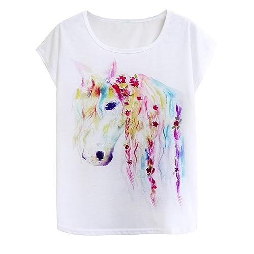 3746be9e7 Doballa Women's Graphic Horse and Giraffe Print Tee Short Sleeve Causal  Pullover T Shirt Tops