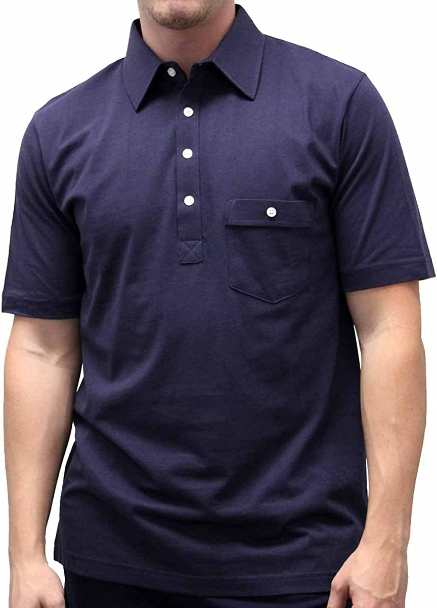 Palmland Solid Textured Short Sleeve Knit Big and Tall - Navy