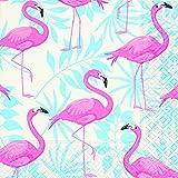 Servilletas (2 Juegos / 40 uds) 3 capas 33x33 cm Muestra Verano Jardín Flamencos (Flamingo Garden)