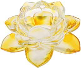 MagiDeal Crystal Lotus Tealight Candle Holder Buddhist Flower Ornaments Table Desk Decoration - Yellow