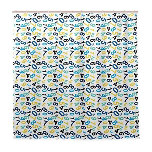 DYCBNESS Duschvorhang,Zahlen Math Themed Design Print,Vorhang Waschbar Langhaltig Hochwertig Bad Vorhang Polyester Stoff Wasserdichtes Design,mit Haken 180x180cm