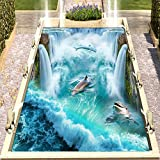 Decalcomanie Murali Rimovibili In Vinile Pvc Autoadesivo Impermeabile 3D Piastrelle Per Pavimenti Carte Da Parati Adesivo Cascate Delfini Murales Centro Commerciale All'Aperto Pavimento Del Bagno Ca