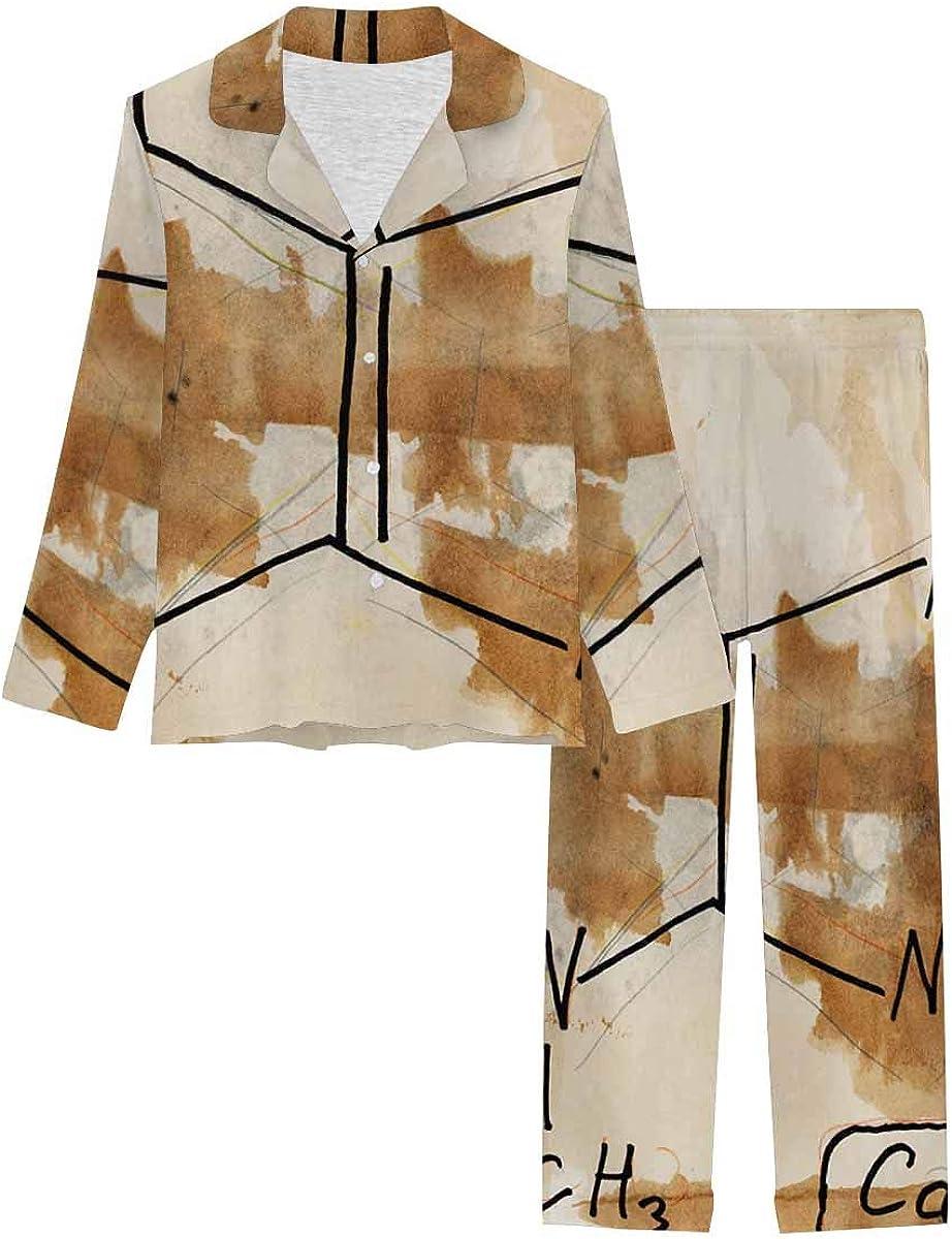 InterestPrint Complete Free Shipping Sleepwear Button Down Loungewear Long Louisville-Jefferson County Mall Pants C with