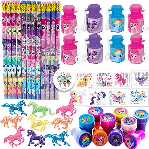 My Little Pony Friendship Adventures Birthday Party Favors and Goodie Bag Fillers Pack For 12 Guests With My Little Pony Pencils, Stampers, Tattoos, Mini Bubbles, Mini Squishy Horses and Exclusive Pin