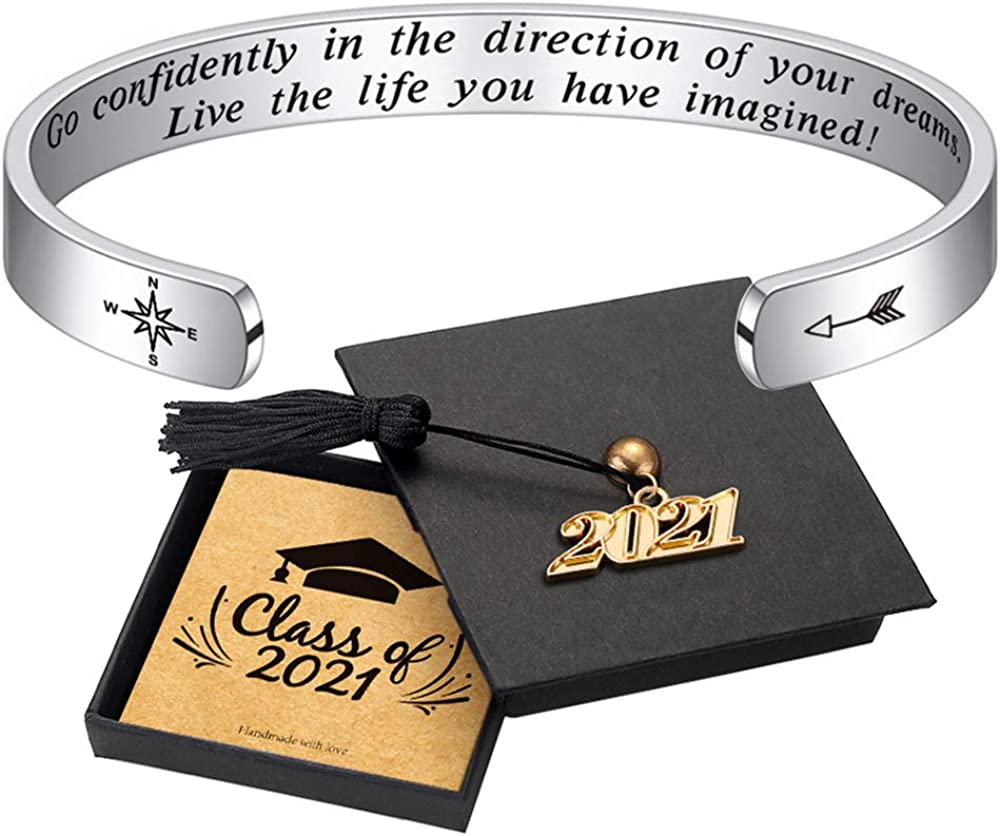 Inspirational Graduation Gifts Cuff Bracelet - Engraved Inspirational Bracelet Cuff with 2021 Graduation Grad Cap She Believed She Could So She Did Bracelet Graduation Friendship Gifts for Her 2021