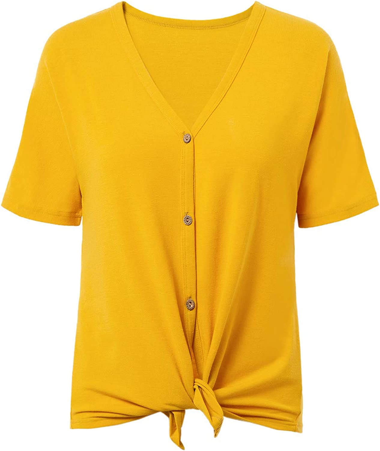 Women's Casual Short Sleeve V Neck Loose Button Down T Shirt Tops
