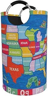 Panier à linge rond, USA Map Panier à linge Seau Sac à vêtements pliable Poubelles de 82 litres pour l'organisation de la ...