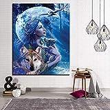 ganlanshu Wandkunstwandplakat und Bilder des Leinwandbildes der Frau und des Wolfs für Wohnzimmer60x90cmRahmenlose Malerei