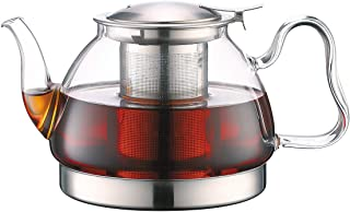 TOYO HOFU Clear High Borosilicate Glass Teapot with Removable Food Grade 304 Stainless Steel Infuser, Large Heat Resistant Loose Leaf Tea Pot,Stovetop Safe,1100ml /37 Oz
