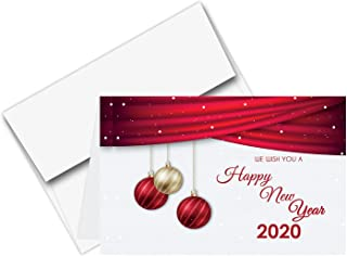 2020 Happy New Year Cards & Envelopes | Christmas, Holiday, Xmas, New Yrs Red Thank You Greeting Card Set – 25 Half Fold Cards & A6 Envelopes | 4.5 x 6 Inches