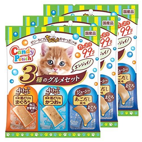 キャネット 猫用おやつ キャンディーパウチ 3種のグルメセット エンジョイ 国産若どり&まぐろ味カニかまぼこ入り、国産若どり&かつお、あごだし風味&まぐろ入り 99gx3 (まとめ買い)