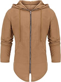 Rosatro Hoodie for Men Men's Splicing Hooded Solid Trench Coat Jacket Cardigan Full Sleeve Outwear Blouse Cardigan