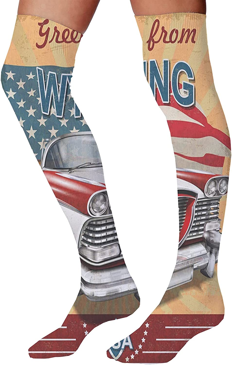 Unisex Dress Cool Colorful Fancy Novelty Funny Casual Combed Cotton Crew SocksRetro Design Illustration of Old Vintage Car and Greetings from Lettering USA