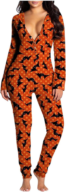 Pajamas for Women Halloween Sleepwear Button Down Pumpkin Print Long Sleeve Deep V Neck Buttoned Flap Sexy Jumpsuit