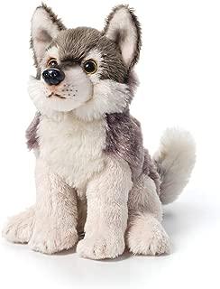 DEMDACO Little Silver Grey Wolf Children's Plush Beanbag Stuffed Animal Toy