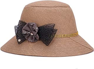ZiWen Lu Hat Female Summer Linen Grass Korean Fashion Visor Casual Sunscreen Straw hat (Color : Brown, Size : 58cm)