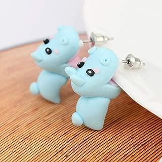 Soft Pottery Animal 3D Ear Drop Girl Ear Stud Polymer Clay Earrings Hippo Cute
