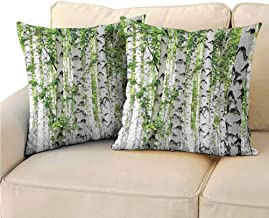 QIAOQIAOLO Pack of 2 Bedroom Pillowcase Woodland Decor Double-Sided Printing 13.5x13.5 inch Birch Trees in The Forest Summertime Wildlife Nature Themed Decorating Picture White Green