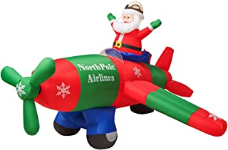 Tangkula 8 Ft Inflatable Christmas Santa Claus Blow-up with Airplane, Classic Christmas Decorations with 3 Sets of LED Bulbs, Outdoor Indoor Holiday Decorations for Nighttime Display (Red & Blue)
