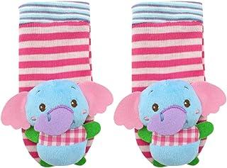 NUOBESTY, Adorables Calcetines en Forma de Elefante con Sonajeros de Muñeca Sonajero de Felpa de Dibujos Animados Lindo con Campana de Anillo para Bebé Niña Niño Al Aire Libre (Azul Cielo)