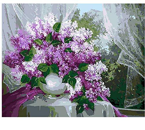 Peinture Main Bricolage Huile Décorative Lavande Toile De Lin Miroirs Mur Art pour Salon 40x50cm Encadrée