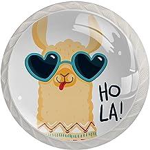 4 Pack Witte Ladeknop Trek Handvat Leuke Alpaca Cartoon Ronde Knoppen voor Keuken Kasten Mooie Leuke Crystal Clear Glas Ka...