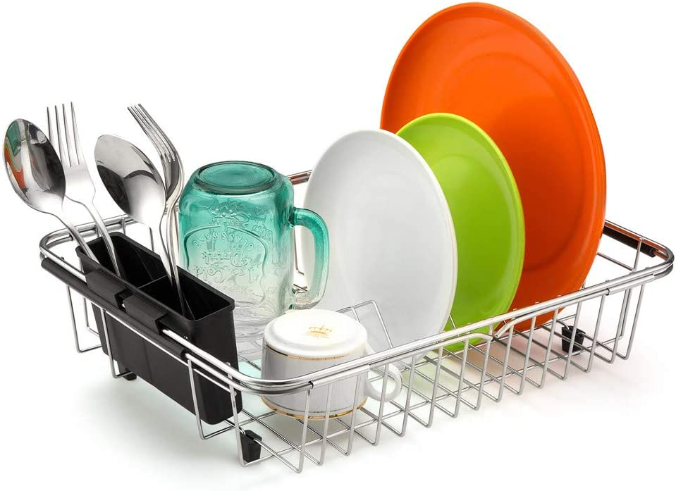 Long Beach Mall SANNO Over The Sink Expandable Drying Rack Dish OFFicial Utensil Silverwa