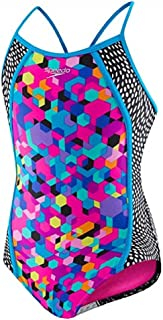 Speedo Girls' One Piece Swimsuit (14,Rainbow Brights)