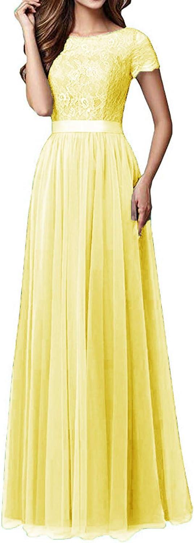 TTYbridal Aline Bridesmaid Dress Cap Sleeve Lace Evening Wedding Party Dresses B15