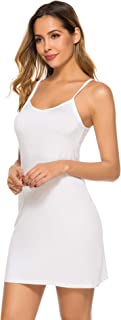 Women's Basic Slip Dress Adjustable Spaghetti Strap Cami Mini Dress
