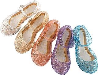 Frecoccialo Sandalias Princesa de Cristal PVC para niña Transparente gelatina con cuña Fiesta, Playa, Vacaciones, Cosplay,...