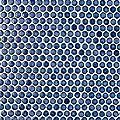 "SomerTile Hudson Penny Round Glossy Sapphire 12"" x 12-5/8"" x 5 mm Porcelain Mosaic Tile (10 tiles/10.74 sqft.)"