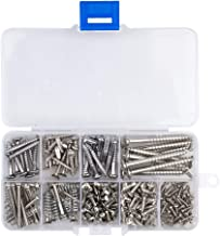 COCODE Guitar Screw Kit 9 Types Assortment Set with Springs for Electric Guitar Bridge, Pickup, Pickguard, Tuner, Switch, Neck Plate, 204 Pieces, Chrome