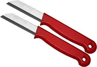 Schwertkrone Schälmesser Set Solingen - 2 Obstmesser Gemüsemesser Floristenmesser Bandstahl rostfrei rot 2-Stück