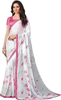 ملابس كاجوال للنساء الهندية البيضاء من الشيفون مع بلوزة قطن جاكار حريري 5742