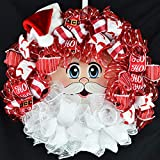 Santa Claus Face Wreath | Christmas Mesh Front Door Wreath; White Red Beard Hat